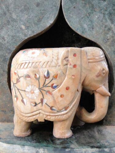 Éléphant indien Marbre Pierres semi-précieuses Pietra Dura Statue Inde H7