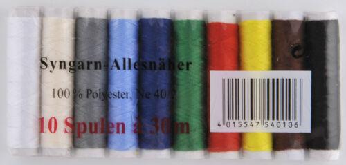 10 x30m Nähfaden-set máquina universal set con distintos colores