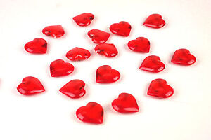 Acrylic Red Heart Shaped Valentine Gems Vase Filler Confetti Table Scatter, 4LBS
