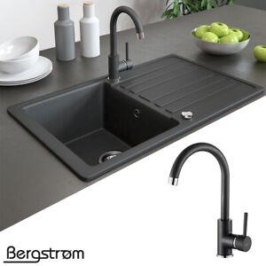 Details zu Armatur Küchenarmatur Spülenarmatur Wasserhahn Mischbatterie  Spüle Küche schwarz