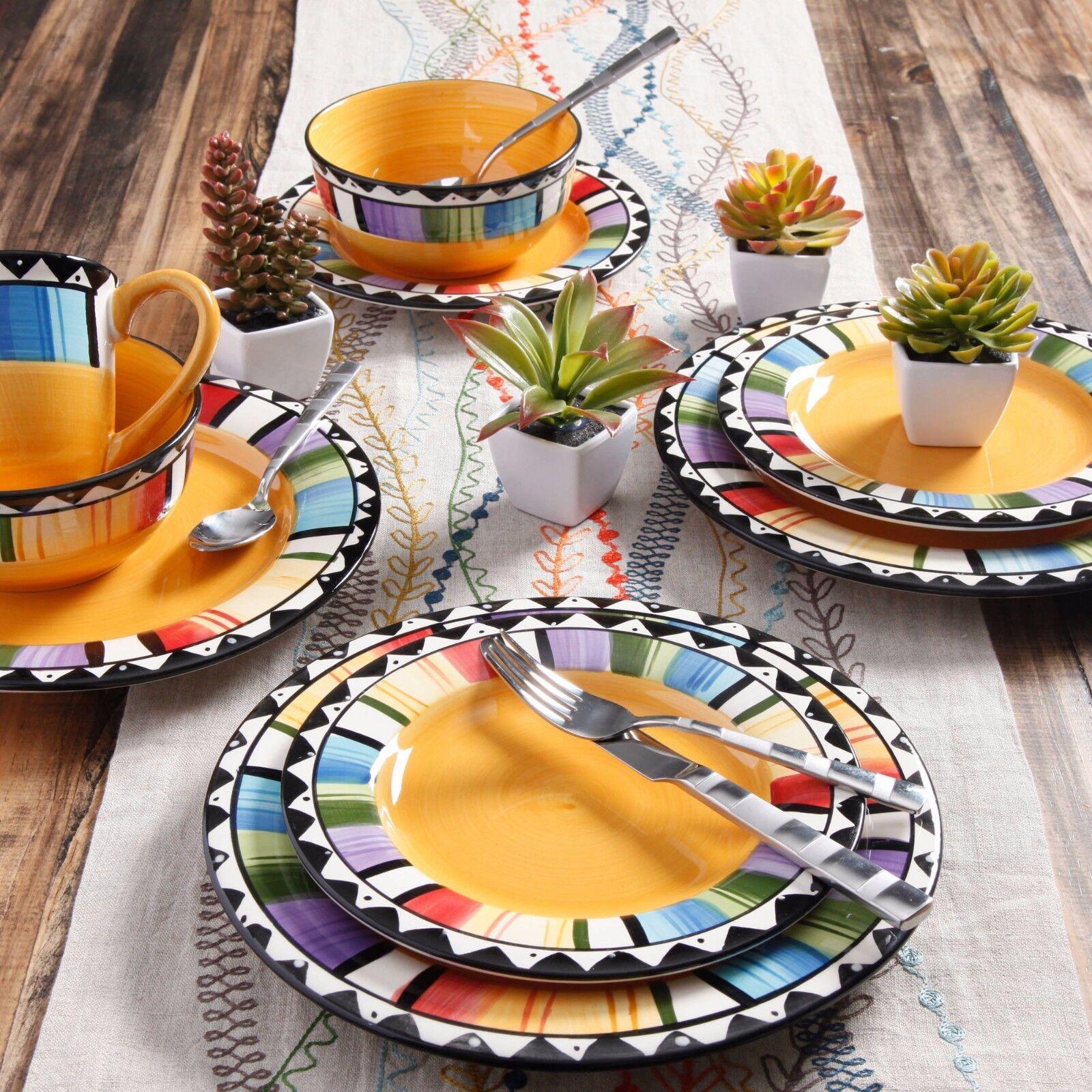 Fiesta Vaisselle 16 Pieces Set vaisselle assiette bol mug en grès cuisine salle à manger de la salade