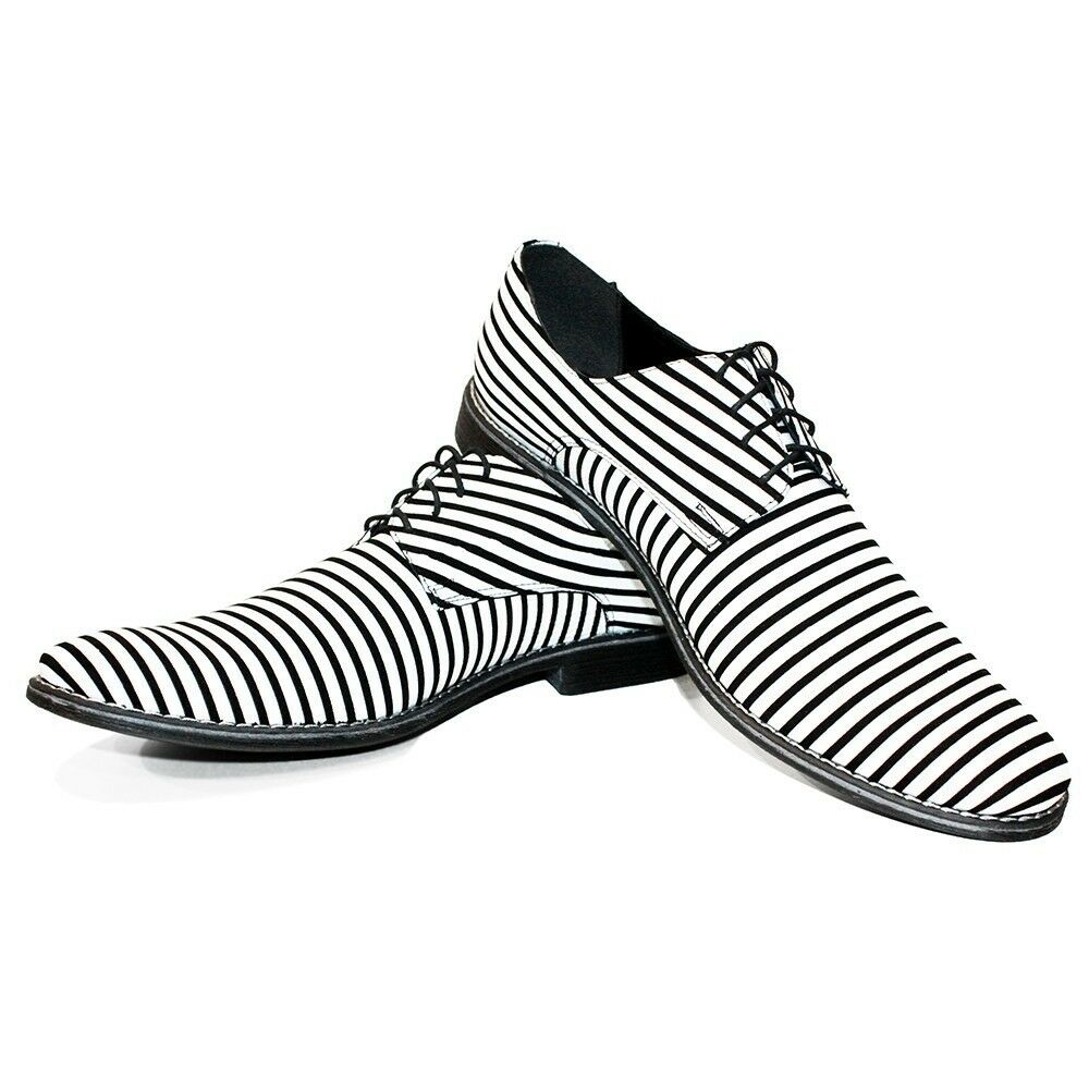 Modello Zebro - Hecho a Mano Italiano blancoo Oxford Zapatos Vestido - Cuero
