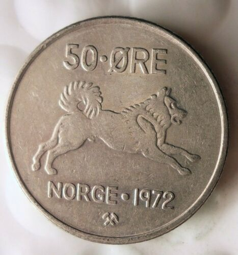 Excellent FREE SHIPPING ELKHOUND SERIES 1972 NORWAY 50 ORE Norway Bin A