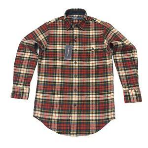 Ralph-Lauren-Para-Hombres-Camisa-De-Invierno-Calce-Clasico-sarga-de-cuadros-escoceses-en-Rojo-Muli