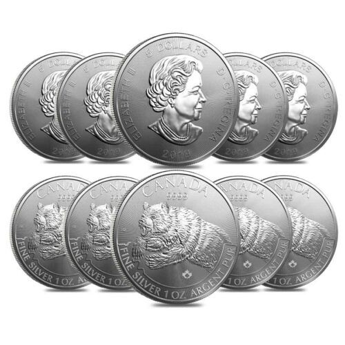 Lot of 10-2019 1 oz Canadian Silver Grizzly Bear Predator Series $5 Coin .9999