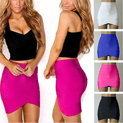Women's Stretch Bodycon Mini Skirt Skirt Fitted Cross Asymmetrical Hem XS-L B62