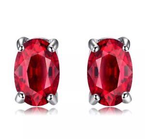 100-Genuine-925-HALLMARKED-Sterling-Silver-1ct-Created-Ruby-Stud-Earrings-6-4mm