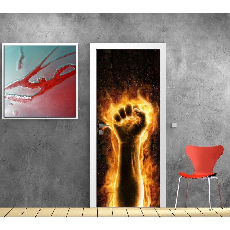 Papel pintado golpes de puerta fuego 855