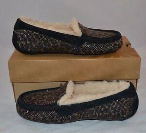 black glitter moccasins