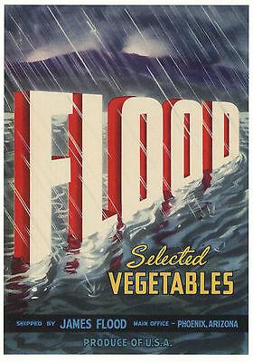 *original* Flood Rain Ocean Phoenix Arizona Vegetable Crate Label Not A Copy!! Sales Of Quality Assurance