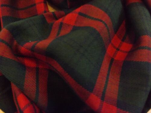 Warm Red and Green Tartan Infinity Scarf Plaid Mother/'s Day Gift Present