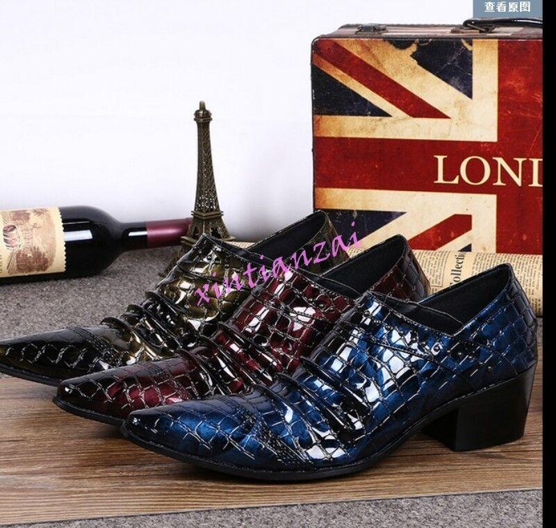 Uomo Pointed Toe Dress Cuban Formal Business Slip On Patent Pelle Shoe Rivet