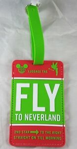 6fd12e64b4f7 Details about Disney Parks Fly to Neverland Tinkerbell WDW Travel Luggage  Tag PVC - NEW