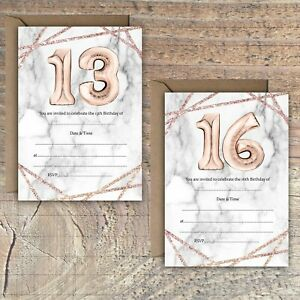 BIRTHDAY-INVITATIONS-BLANK-ROSE-GOLD-MARBLE-EFFECT-BALLOON-13TH-16TH-PACKS-OF-10