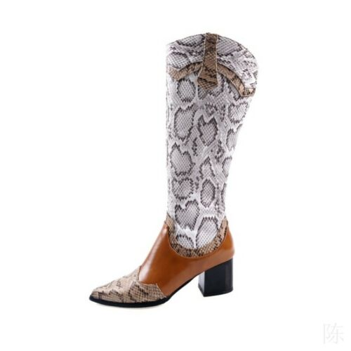 Western Trend Women Cowboy Side Zip Mid Calf Pointed Riding Boots Splice Colors