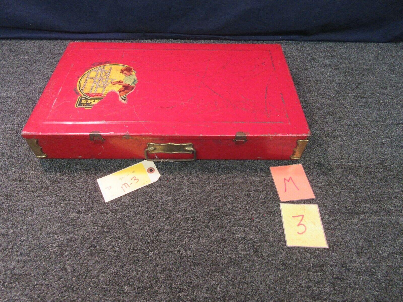 AC Gilbert Vintage Erector Set Metal Box Case 8 1 2 Toy All Electric 20x 12x 3