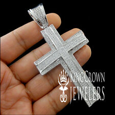 UNIQUE LOOK DIAMOND SIMULATED 14K WHITE GOLD FINISH JESUS CROSS CHARM PENDANT