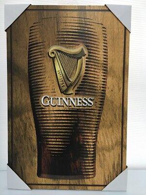 NEW Guinness Beer Sign Wood Burn Look Harp Bar Man Cave Decor