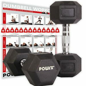 Hexagon-Hanteln-Paar-inkl-Workout-I-2-32-5-kg-I-Kurzhantel-Set-gummiert