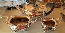 ant tea set,teapot/creamer/open sugar,English SILVER PLATE 3 pc WILLIAM HUTTON
