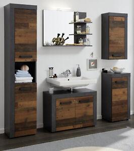 Details zu Bad komplett Set Indy Old Wood Matera grau Badezimmer Möbelset  Vintage 5-teilig