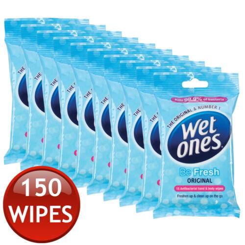 1//5//10 x WETONES ORIGINAL HAND CLEANSING 15 WET WIPES TOWEL TRAVEL ANTIBACTERIAL