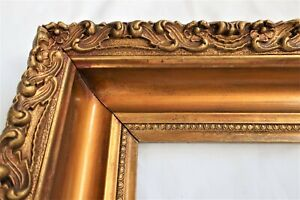 ANTIQUE FIT 12 X14 BRONZE GOLD PICTURE FRAME WOOD ORNATE  GESSO FINE ART COUNTRY