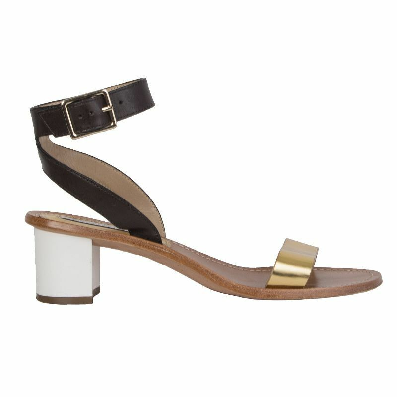54169 auth DIANE VON FURSTENBER Marronee & oro leather Sandals scarpe 9.5 M dvf