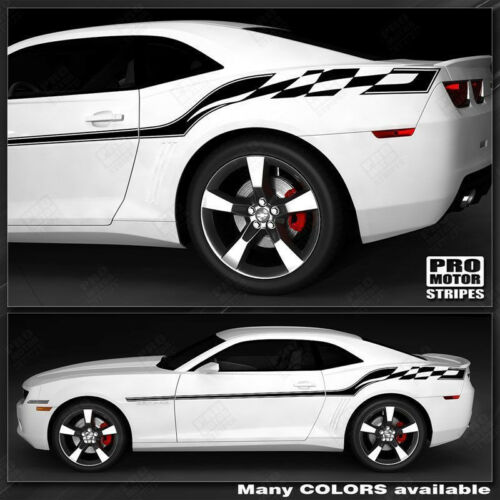 Chevrolet Camaro 2010-2015 Checkered Flag Style Side Stripes Choose Color