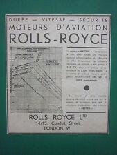 4/1933 PUB ROLLS-ROYCE MOTEUR AVIATION KESTREL ORIGINAL FRENCH AD
