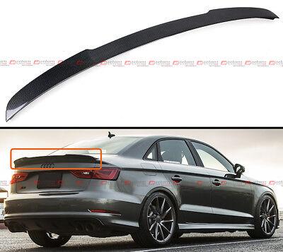 for AUDI S3 A3 8V Sedan car rear trunk lip spoiler wing carbon fiber V type