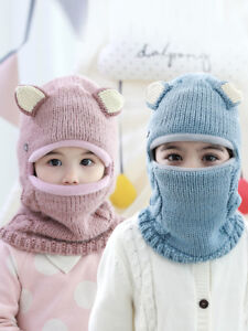Kids Boys Girls Knitted Winter Balaclava Face Cover Outdoor Ski Mask Hat Scarf