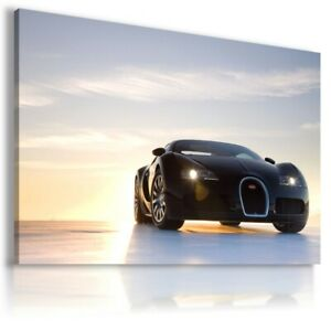 BUGATTI-VEYRON-BLACK-Super-Sports-Car-Large-Wall-Art-Canvas-Picture-AU4-UNFRAMED