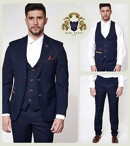 Mens Marc Darcy Tweed 3//2 Piece Blazer Waistcoat Trousers Slim Tailored Smart