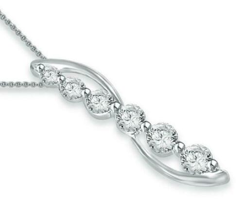 Fashion Journey Pendant Necklace 0.40Ct Round Diamond 14Kt White Gold Prong Set