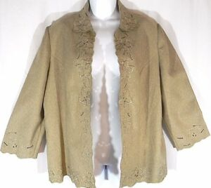 Alfred-Dunner-Size-12-Open-Front-Blazer-Women-Floral-Embroiderie-No-Lined-Jacket