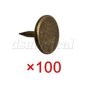 100 x Bronze 8mm Vintage Round Flat Head Upholstery Tacks Nail Push Pins