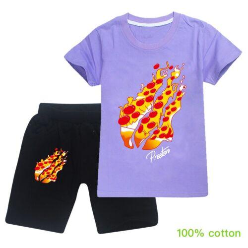 Shorts PRESTONPLAYZ Kids Children Casual Tracksuit Short Sleeve T-Shirt Tops