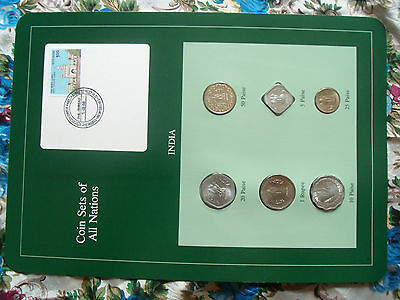 Coin Sets of All Nations India Green w//card 1974-1986 UNC 5 Paise 1986