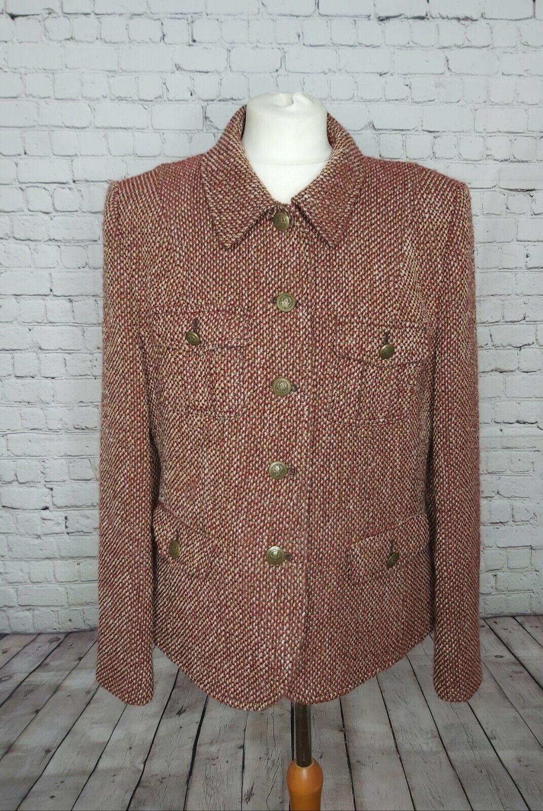 BASLER UK16 Virgin Wool Tweed Boucle Style Burnt Orange Cream Country Day Jacket