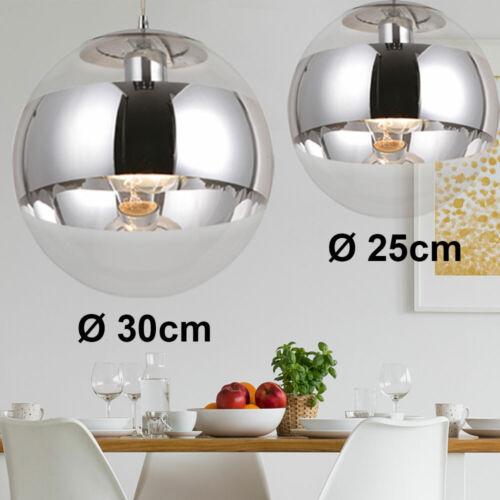 2x Chrom Decken Pendel Hänge Lampe Leuchte Glas-Kugel Beleuchtung Ess Zimmer