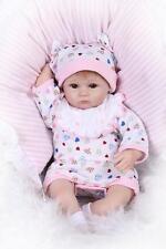 Nicery Reborn Baby Doll Soft Silicone 18in. 45cm  White Bib Eyes Open Pillow NPK