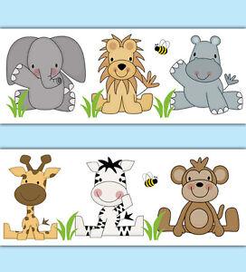 Image Is Loading Safari Animal Wallpaper Border Decals Baby Boy Nursery