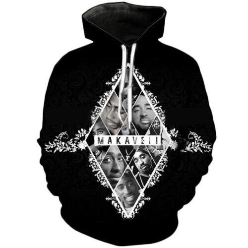 Fashion Women//Men 2pac tupac Funny 3D Print Casual Hoodies Sweatshirt Hip Hop UK