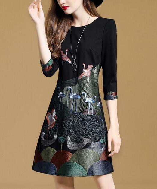 Elegant Womens Embroidery Floral 3 4 Sleeve A-type Slim Fit Dress Mini Skirts