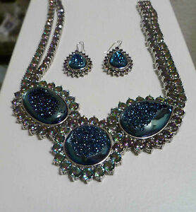 Sterling 925 Silver Authentic Larimar Blue Mystic Topaz Necklace.
