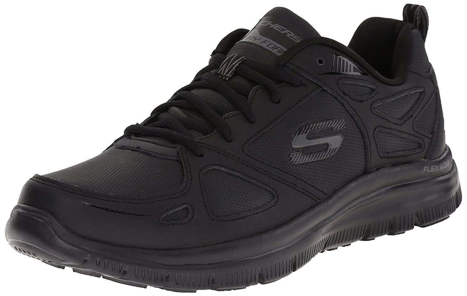 Skechers 51461 Mens Flex Advantage Even Strength Athletic Shoes Black Comfortable and good-looking