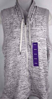 Active Life Sleeveless Hooded Yoga Warm Up Jacket Grey Heather 2xl New Orig. $78