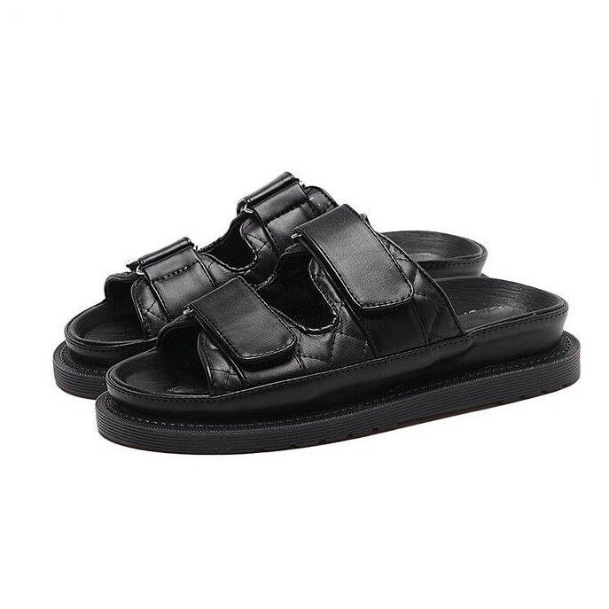 Sandales elegant low slippers schwarz platform comfortable like Leder 1106