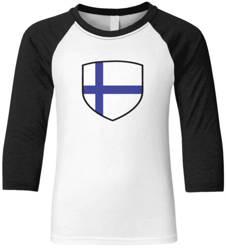 Details about  /Finland Flag Country Pride Crest Game Day The Eagle Owls Team Youth Raglan Shirt